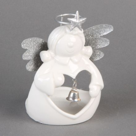 White Ceramic Angel with Metal Wings Christmas Tea Light Holder